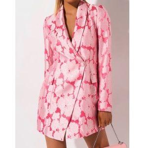 Pink floral blazer dress